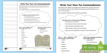 Write Your Own Ten Commandments Writing Activity Sheet - UKS2, LKS2, RE, writing, Christianity, Ten Commandments, KS2