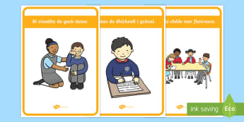 Classroom Golden Rules Display Pack Gaeilge - General Classroom Display KS1, gaelige/Irish, golden rules, rules, expectations.,Irish