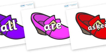Tricky Words on Shoes - Tricky words, DfES Letters and Sounds, Letters and sounds, display, words