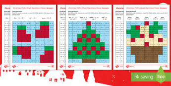 KS1 Christmas Maths Mixed Operations Mosaic Differentiated Activity Sheets - numeracy, addition, subtraction, one more, one less, x2, x5, x10, dividing, number bonds to 10, numb