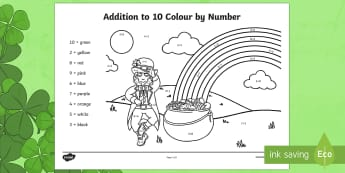 Addition to 10 Colour by Number Activity Sheet - ROI - St. Patrick's Day Resources, St Patrick's Day, Paddy's Day, maths, aistear, number facts, a