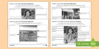Great Depression Source Analysis Activity Pack - republican, wall st crash, hoover, roosevelt, history, 1930s, great depression, alphabet agencies, d