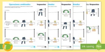 Fichas de atención a la diversidad: Operaciones combinadas - orden, operaciones, combinadas, números naturales, Asociativa, conmutativa, distributiva, jerarquí