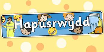 Hapusrwydd Banner  Welsh - hapusrwydd, header