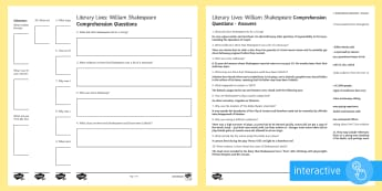 Literary Lives: William Shakespeare Differentiated Comprehension Go Respond Activity Sheets - Comprehensions KS3/4 English, William Shakespeare, Anne Hathaway, Mary Arden, Stratford-upon-Avon, J