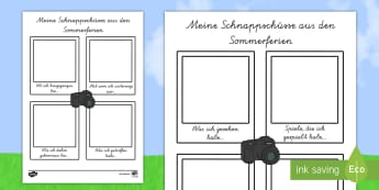 Meine Schnappschüsse aus den Sommerferien - german, my holiday, snapshot, writing frame, writing, frame, holiday
