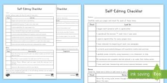 Editing Checklist Worksheet / Activity Sheet - Editing, Self Editing Checklist, Writing, Revising, writing process, final draft