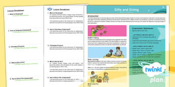 CfE Early Level PlanIt RE Year 1 Gifts and Giving PlanIt Overview - RME, RERC, Islam, Christianity, Christmas, Eid al-Fitr, world religions