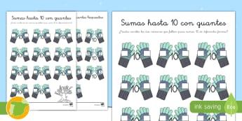* NEW * Ficha de actividad: Sumas hasta 10 con guantes - navidad. nieve, invierno, adición, guantes, matemáticas, números, primaria, profesores, materiale