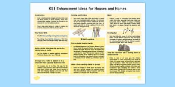 KS1 Enhancement Ideas for Houses and Homes Resource Pack - Houses and Homes KS1 Lesson Plan Ideas - house, home, lesson plan, fewer, Australia