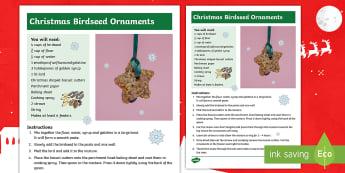 Christmas Birdseed Ornaments  Craft Instructions - bird feeders, craft, festive, Christmas fair, whole school