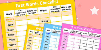 First Words Checklist - first word, checklist, first, words