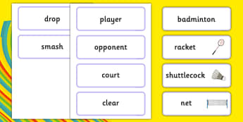 The Olympics Badminton Word Cards - Badminton, Olympics, Olympic Games, sports, Olympic, London, 2012, word card, flashcards, cards, activity, Olympic torch, events, flag, countries, medal, Olympic Rings, mascots, flame, compete
