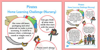 EYFS Pirates Home Learning Challenge Sheet Nursery FS1 - eyfs, pirates, home learning, challenge, sheet