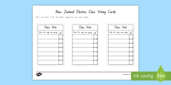 New Zealand Election Class Voting Cards - New Zealand, 2017 Elections, Government, National, Greens, Labour, New Zealand First, Parliament, Ma
