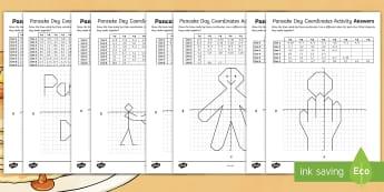 UKS2 Pancake Day Coordinates Worksheet / Activity Sheets - Pancake Race, Shrovetide football, Frying Pan, Gingerbread man, worksheets