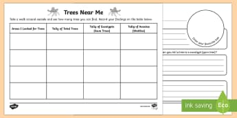 Trees Near Me Tally Worksheet / Activity Sheets - Australian plants, trees, flora, school plants, native trees, eucalypt, eucalyptus, gum trees, wattl