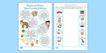 Rhythm and Rhyme Home Learning Challenge FS2 - EYFS planning, Early years activities, homework activities, phonics, Letters and Sounds, Phase 1, Aspect 4, listening skills