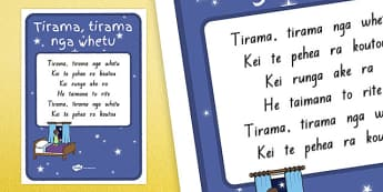 Twinkle Twinkle Little Star Te Reo (version 2) A4 Display Poster