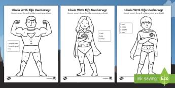 Taflen Liwio Wrth Rifo Archarwyr - taflen,lliwio, rhifo, Uwcharwyr,rhifedd, mathemateg, colouring, sheet, superheroes, numeracy, mathem