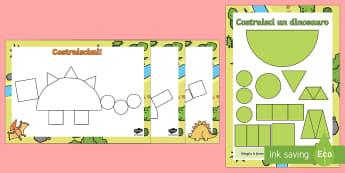 Costruisci i Dinosauri con le Forme - dinosauri, forme, 2D, geometria, costruisci, italiano, italian