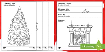 Christmas Colouring Sheets English/Italian - Christmas Colouring Sheets - Christmas, xmas, colouring, fine motor skills, poster, worksheet, tree,