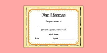 Pen Licences - writing, pen, pen licences, award, licence, writing, good writing, ability, english, KS2, awards, certificate