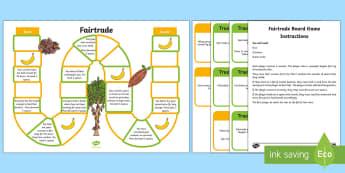 Fairtrade Board Game - Fairtrade, chocolate, bananas, football, symbol, board game, fair trade, jungle, farming, farmers, s