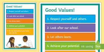 Good Values A4 Display Poster - Values, manners, Courtesy, poster. PSHE, Behaviour