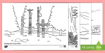 Canada's West Coast Colouring Pages - Geography, Canada, Social Studies, great cedars, stanley park totem poles, skiing, rocky mountains,