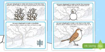Winter Playdough Mats English/French - Playdough, mat, penguin, huskey, snow, winter, frost, cold, ice, hat, gloves, wnter, playdugh, wintr