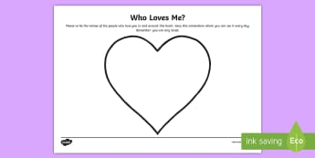 Who Loves Me? Activity Sheet - loss, PSHE, transition, change, worksheet, heart, love, relationships, self-esteem