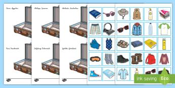 Urlaubskleidung ordnen Aktivität - Urlaub, Reise, reisen, Kleider, Kleidung, sortieren,,German
