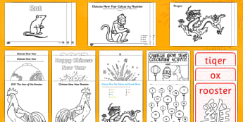 Chinese New Year Colouring Pack - Chinese New Year KS1. KS2, EYFS, Celebration, festivals, rooster,
