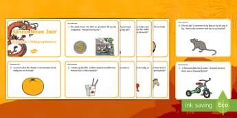 Sjinese Nuwe Jaar Wiskundige Woordsomme Uitdagingskaarte - Januarie, fees, vier, somme, gesyferdheid, nommers