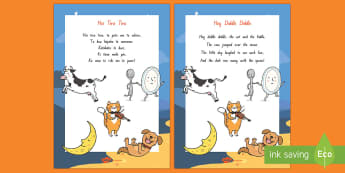 Hey Diddle Diddle Display Poster - NZ Literacy Resources, nursery rhymes, Years 1-3, New Zealand, Aotearoa, Te Reo, Maori, poems, Engli