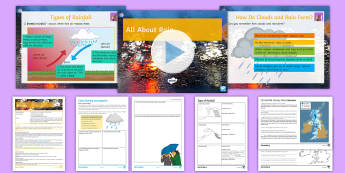 All about Rain Lesson Pack - Precipitation, rainfall, frontal rain, relief rain, Convectional rain, Condensation, Air masses, Clo