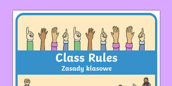 Class Rules Display Poster Polish Translation - behaviour, record, display, classroom, management, visual aid, ks1, eyfs,