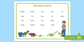 Describing Words to Support Teaching on Harry and the Bucketful of Dinosaurs Word Mat - Wow Words on Harry - Wow words, adjectives, VCOP, describing, Wow, display, poster, wow display, tas
