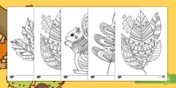 Fall Themed Coloring Activity Sheets  - fall, autumn, coloring, activity, art, creativity, worksheets