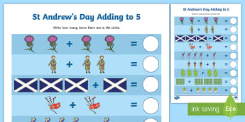 St Andrew's Day Adding to 5 Activity Sheet - Patron Saint Of Scotland, Scotland, Adding to 5, Addition, Jesus Disciples, Worksheet