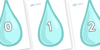 Numbers 0-31 on Water Droplets - 0-31, foundation stage numeracy, Number recognition, Number flashcards, counting, number frieze, Display numbers, number posters