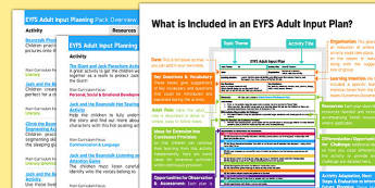 EYFS Jack and the Beanstalk Adult Input Planning and Resource Pack Overview - EYFS planning, early years activities, Tradition tales
