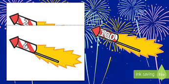 Counting in 2s to 100 on Firework Rockets Cut-Outs