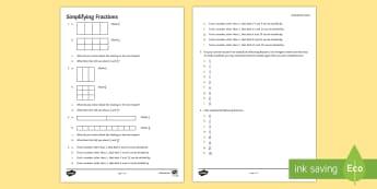 Simplifying Fractions Activity Sheet - simplifying, fractions, equivalent, shade, denominator, numerator, convert, worksheet, common factor