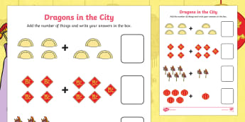 Dragons in the City Addition to 10 Activity Sheet - Originals, Chinese New Year, adding, total, plus, more, combine, add objects, touch counting additio