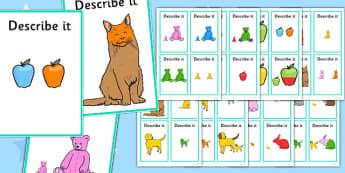 Describe It Colour and Size - describe it, colour, size, images