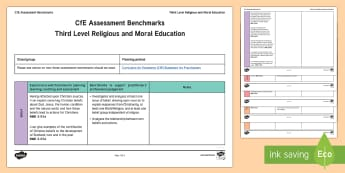 CfE Third Level Religious and Moral Education Benchmarks Assessment Tracker - CfE Benchmarks, tracking, assessing, progression, numeracy, literacy, health and wellbeing, Third Le