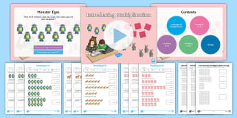 Year 3 Introduction to Multiplication (3s, 4s and 8s) Activity Pack - times tables, 3 times table. 4 times table, 8 times table, coutning in 3s, counting in 4s, counting