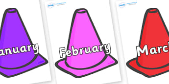 Months of the Year on Cones - Months of the Year, Months poster, Months display, display, poster, frieze, Months, month, January, February, March, April, May, June, July, August, September